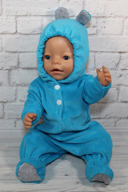 Комбинезон бирюзовый ушастик для куклы Baby Born