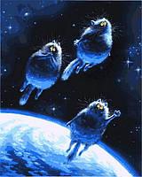 Роспись на холсте Синие коты (VP878) 40 х 50 см