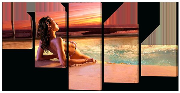 Модульная картина Девушка, море и закат 118*64 см