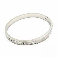 Браслет-кольцо Michael Korse 0376 из ювелирной стали в стразах и логотипом серебристый