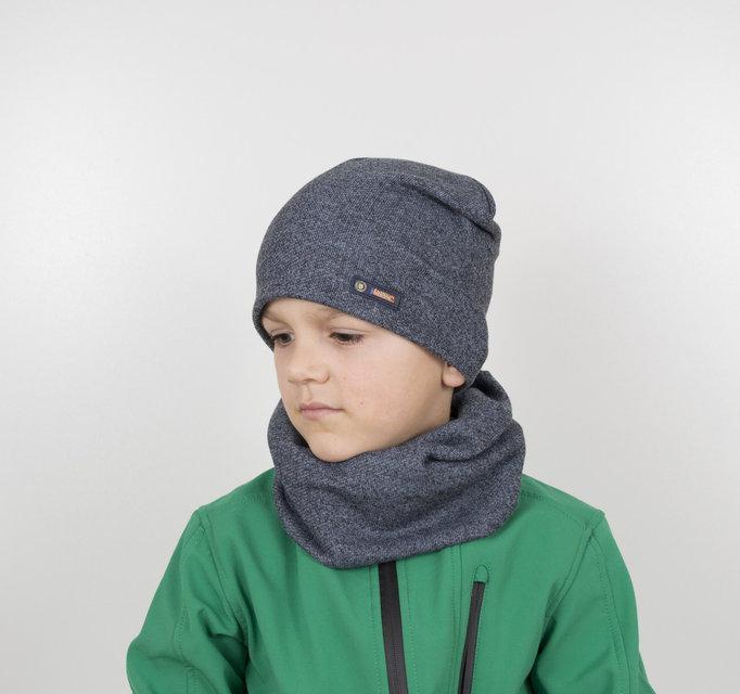 Детский трикотажный комплект хомут+шапка на мальчика