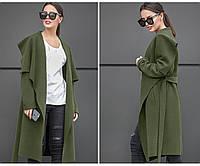 """Кашемировое пальто женское на запах с карманами и поясом """"Софи"""""""