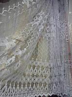 Тюль фатин Дана белая с серебряным люрексом. Турция .