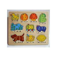 Деревянная игрушка Пазл плюс - минус, 3914, 001737