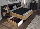 Ліжко з ДСП/МДФ в спальню Луна 1,8х2,0 м'яка спинка з тумбами та каркасом Миро-Марк, фото 2