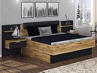 Ліжко з ДСП/МДФ в спальню Луна 1,8х2,0 м'яка спинка з тумбами та каркасом Миро-Марк