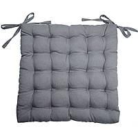 Подушка на стул Кедр на Ливане квадратная стеганная серия Gabi 38x38x5 см Серая (1089)