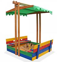 Детская цветная песочница из дерева