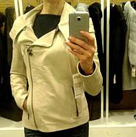 Кожаная куртка с капюшоном, цвет - бежевый