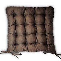 Подушка на стул Кедр на Ливане квадратная стеганная серия Classic 37x37x5 см Коричневая (1036)