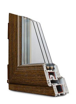 Вікно в.1,27 *ш.0,91 м металопластикове двостулкове глухе колір горіх з двох сторін , фото 2