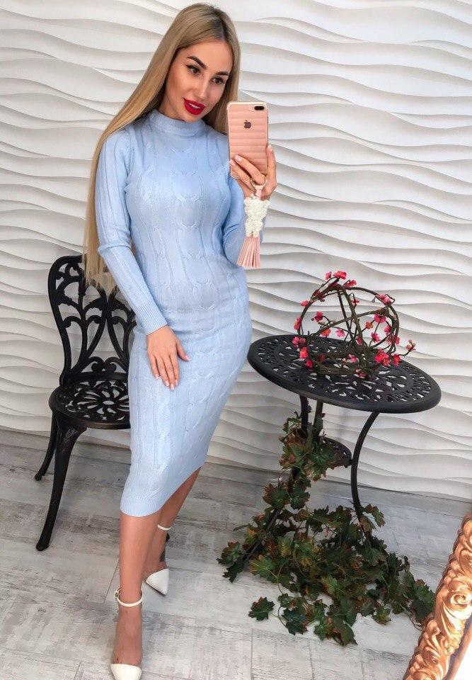 584ff3324bb4176 Женское теплое вязаное голубое платье.: продажа, цена в Харькове ...