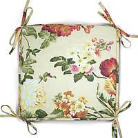Подушка на тубурет  серия Simple flowers 35x35x2 см Бежевая (1043)