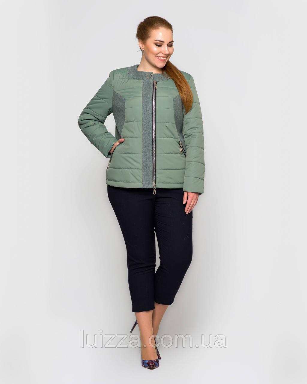 Женская демисезонная куртка с воротом Шанель 48-56рр, полынь