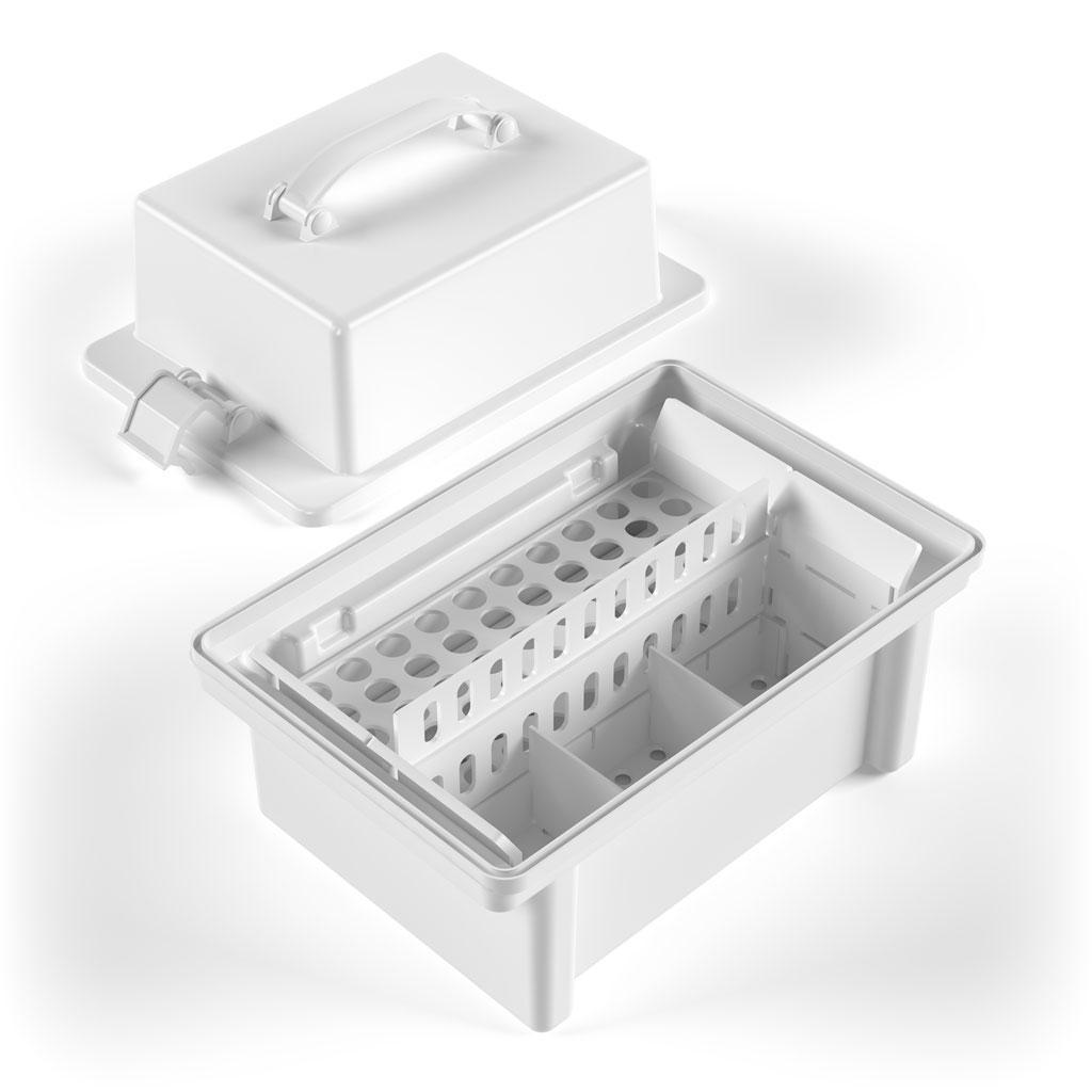 Контейнер для транспортування пробірок УКТП-01 «ЕЛАТ» (вар. 1) на 40 пробірок + корпус з вкладишами
