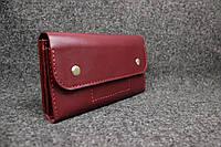 Кожаный кошелек Карин (4 карточки + монетница)  | Краст Бордо