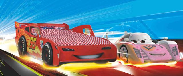 Кровать Тачки Дизайн Дисней Молния Маккуин гонки 900х2000.