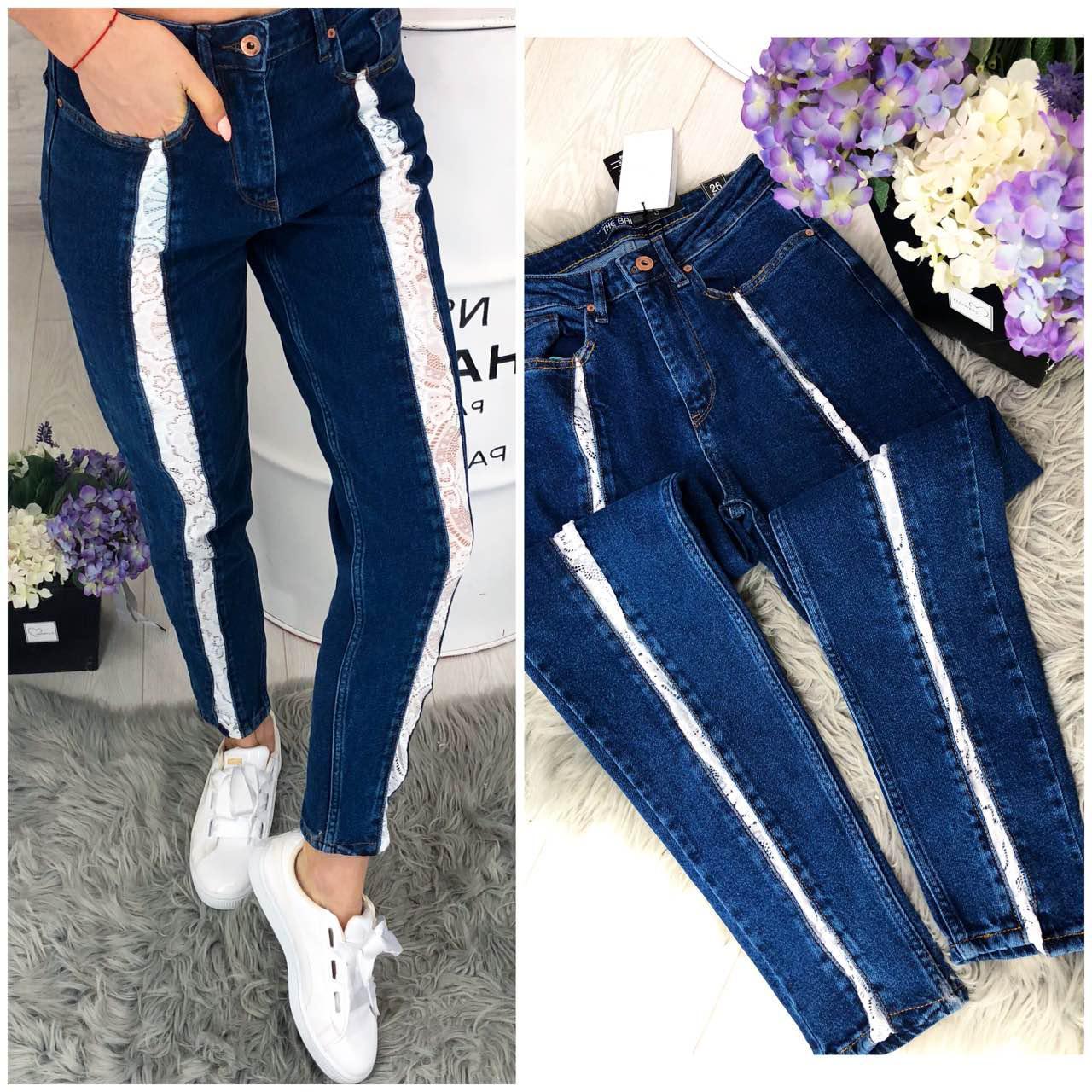6738b6dcf20 Синие джинсы SLIM с кружевными лампасами - Immagine - стильная женская  одежда из Турции в Одессе