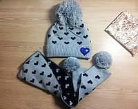 Замечательный набор для девочки с бубоном! (шапка двойная на флисе + шарф) РАЗНЫЕ ЦВЕТА!