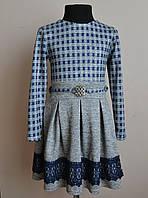 Нарядное детское платье для девочек ангорка с кружевом 128