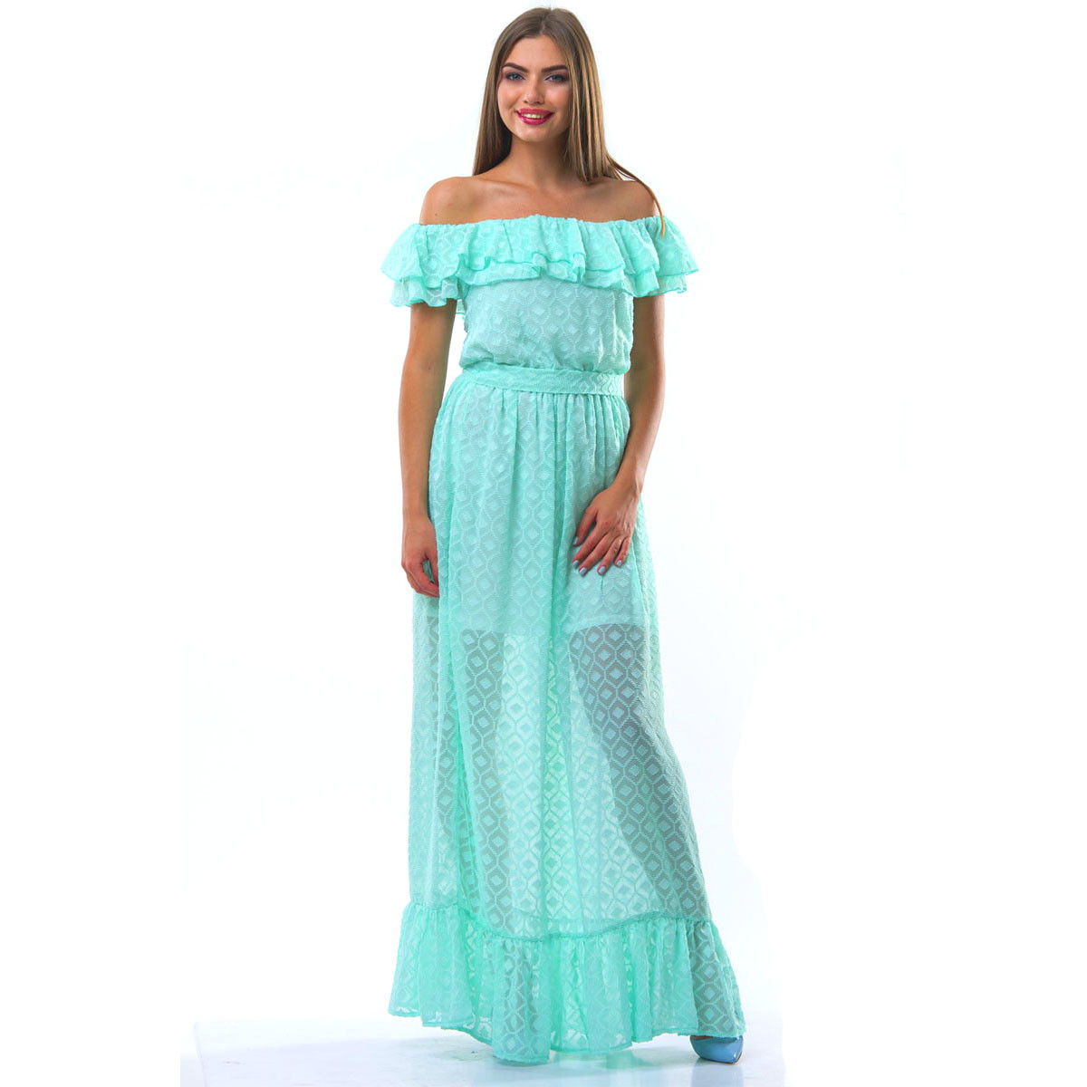 """Шифоновое платье в пол с воланами """"Оригами"""""""