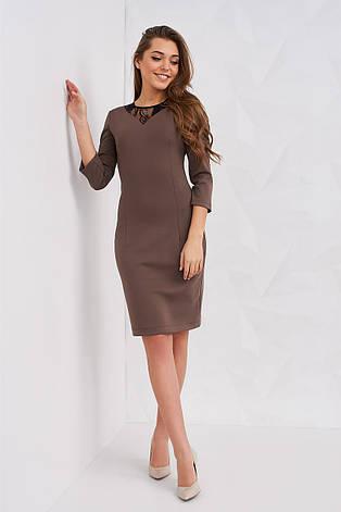 Женское лаконичное платье  цвет капучино  размер 40 42 44 46 48 нейлон, фото 2