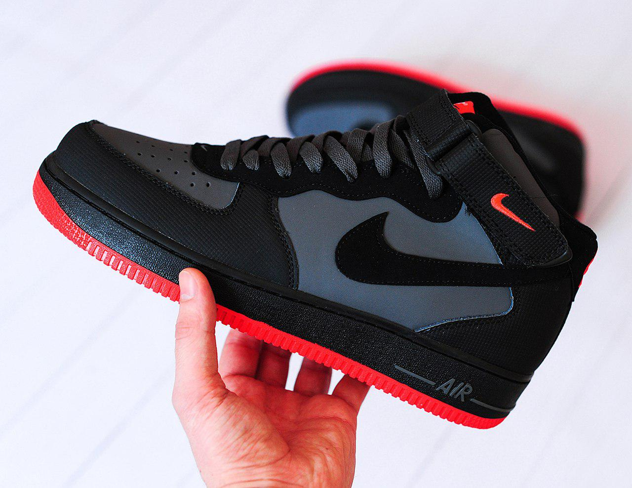 Мужские кроссовки Nike Air Force 1 Mid Grey Red, Копия