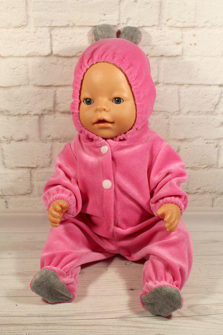 Комбинезон розовый ушастик для куклы Baby Born