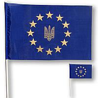 Прапорець (прапорець) Євросоюзу з гербом України , 14 х 23 див.