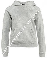 Толстовка женская, серый меланж, футор с начесом, карман кенгуру, для сублимации, размер XL