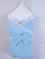 """Детский конверт-одеяло """"Дуэт"""" голубой, зима"""