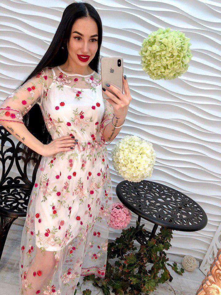 ca161ea8867743c Женское платье из органзы с вышивкой белого цвета. - Интернет-магазин
