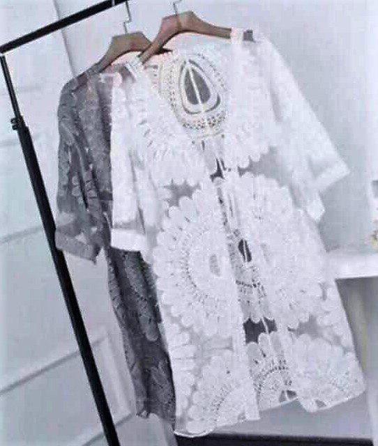 b7d38c028a474 Пляжная накидка кружевная черная и белая. - Интернет-магазин