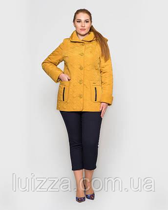 Женская куртка, стеганная узором 50-62рр горчица 56, фото 2