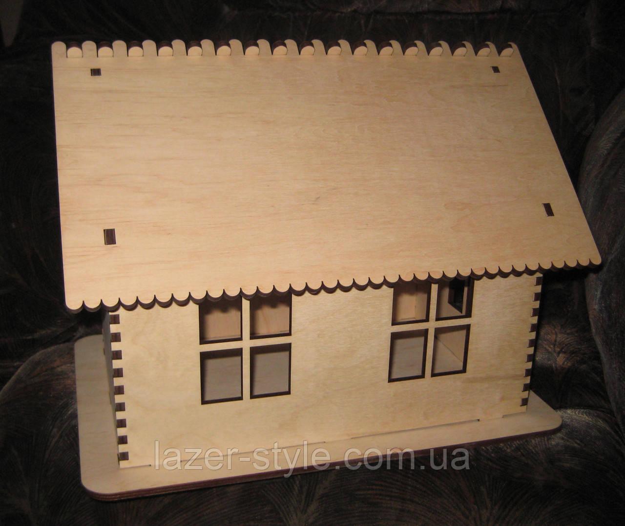 "Деревянная коробка ""Домик"" копилка, казна"