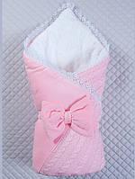 """Детский конверт-одеяло """"Дуэт"""" розовый, зима"""