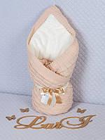 "Зимний конверт-одеяло на выписку ""Лапушка"" капучино"