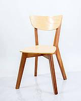 Стул из массива ясеня Рондо  Микс мебель, цвет каркас орех + спинка и сиденье ясень натуральный