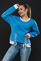 Утепленный женский свободный свитшот со шнуровкой 754310