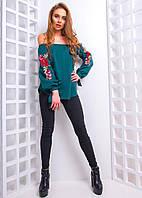 Женская блуза с открытыми плечами и вышивкой на рукавах 543103