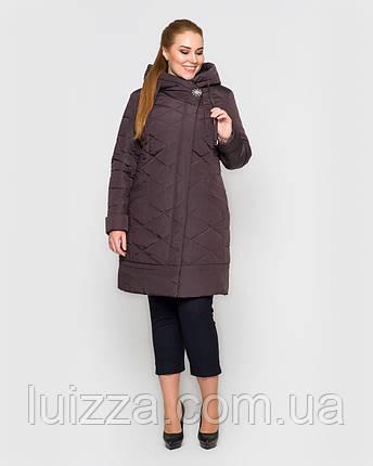 Женская длинная куртка с брошью,  48-58рр коричневый 54, фото 2
