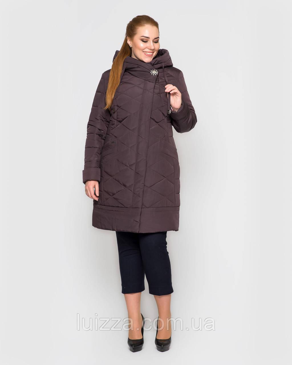 Женская длинная куртка с брошью,  48-58рр коричневый 54