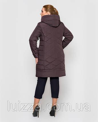 Женская длинная куртка с брошью,  48-58рр коричневый, фото 2