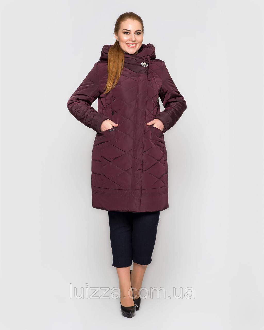 Женская длинная куртка с брошью,  48-58рр марсала 48