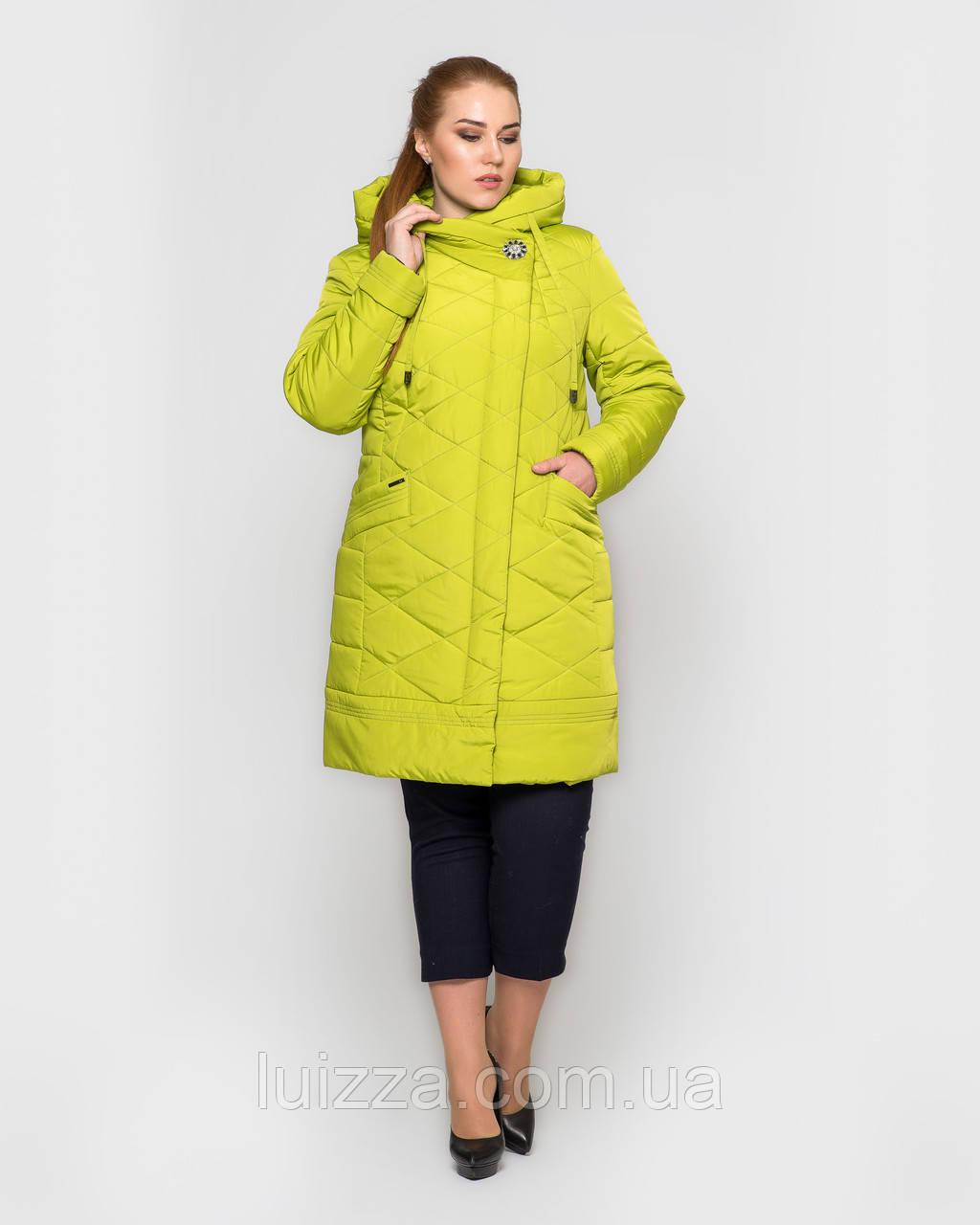 Женская длинная куртка с брошью, 48-58рр лимон 48