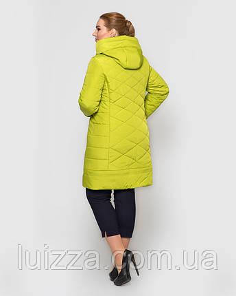Женская длинная куртка с брошью, 48-58рр лимон, фото 2