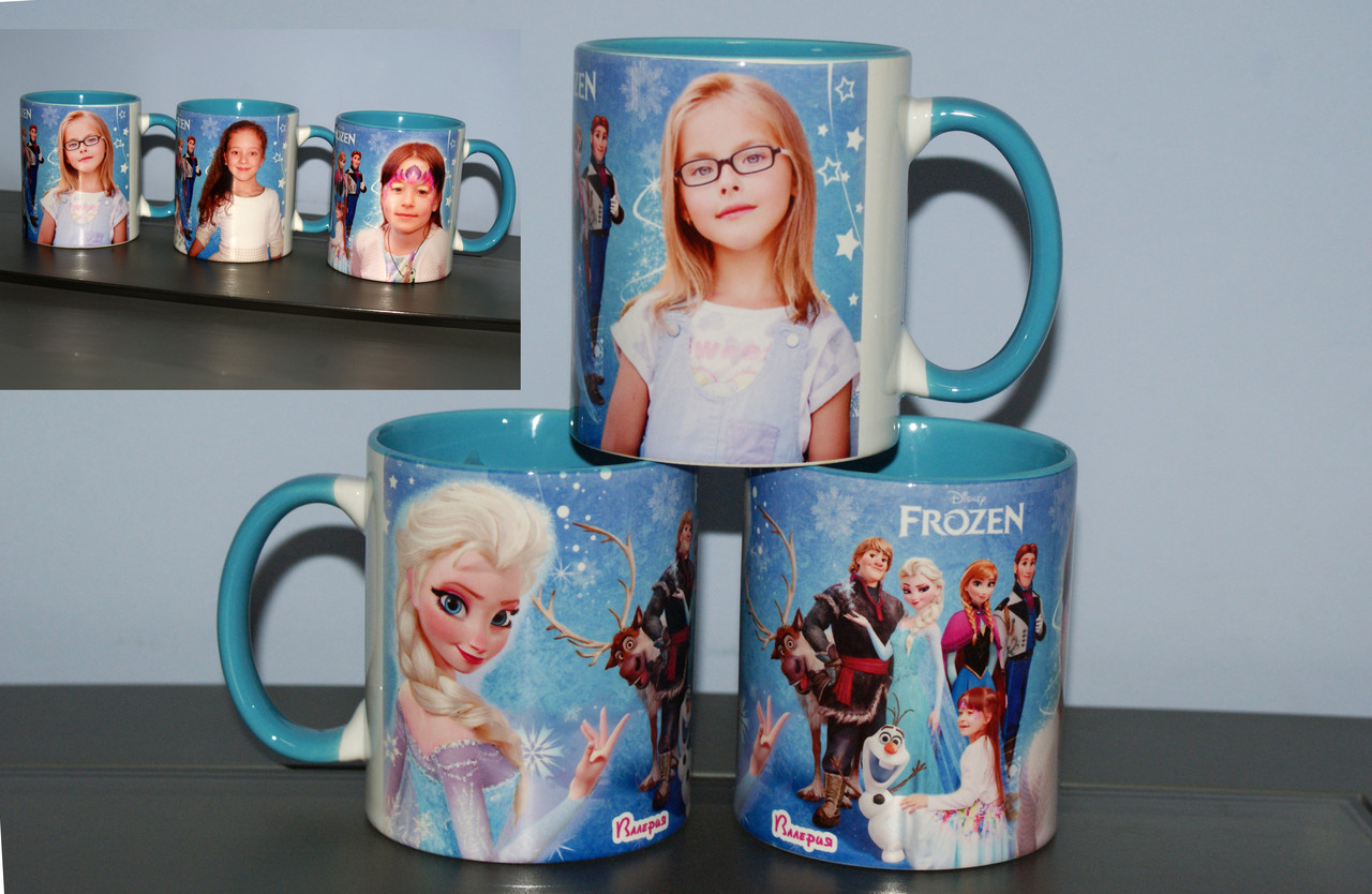 Цветная чашка Фроузен с Вашим фото