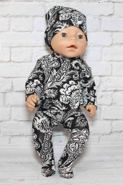 Набор тройка чёрно белые узоры для куклы Baby Born