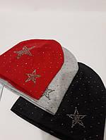 Женская шапка со стразами и рисунком 9791