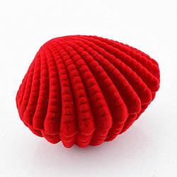 Футляр ракушка 53810 для кольца-серег, красный бархат 5*6.5 см